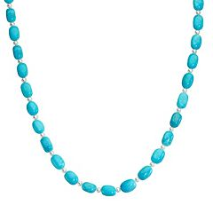 Sterling Silver Turquoise Bead & Freshwater Cultured Pearl Necklace