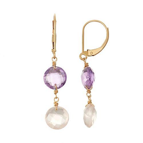 14k Gold Amethyst & Rose Quartz Drop Earrings