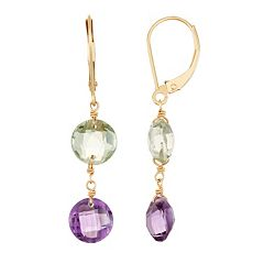 14k Gold Amethyst & Green Quartz Drop Earrings