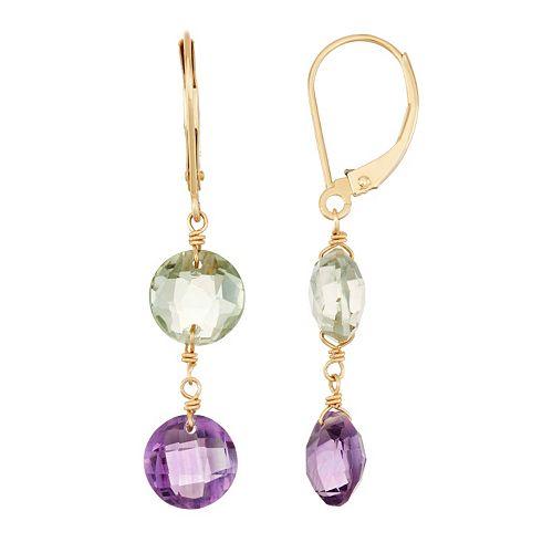 14k Gold Amethyst & Green Quartz Drop Earrings