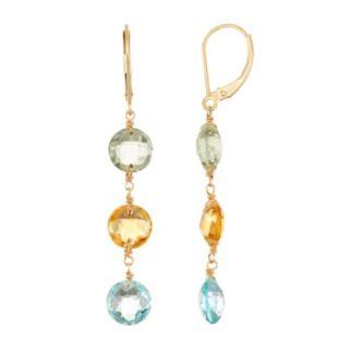 14k Gold Gemstone Linear Drop Earrings