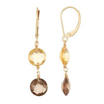 14k Gold Citrine & Smoky Quartz Drop Earrings