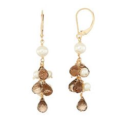 14k Gold Smoky Quartz Briolette & Freshwater Cultured Pearl Drop Earrings
