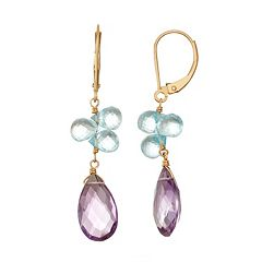 14k Gold Amethyst Blue Topaz Briolette Drop Earrings