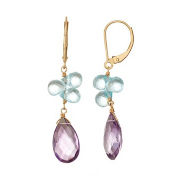 14k Gold Amethyst & Blue Topaz Briolette Drop Earrings