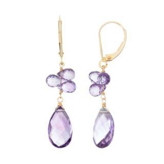 14k Gold Amethyst Briolette Drop Earrings