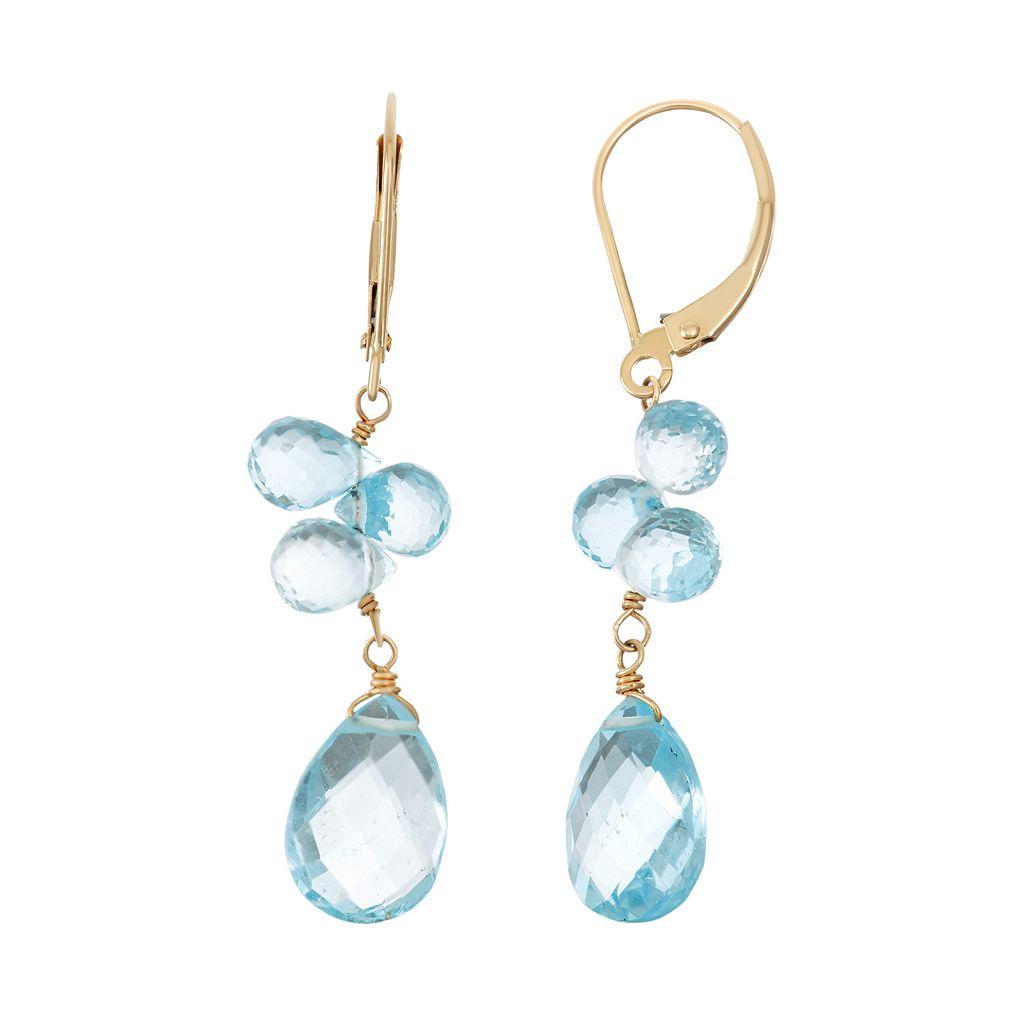 14k Gold Blue Topaz Briolette Drop Earrings