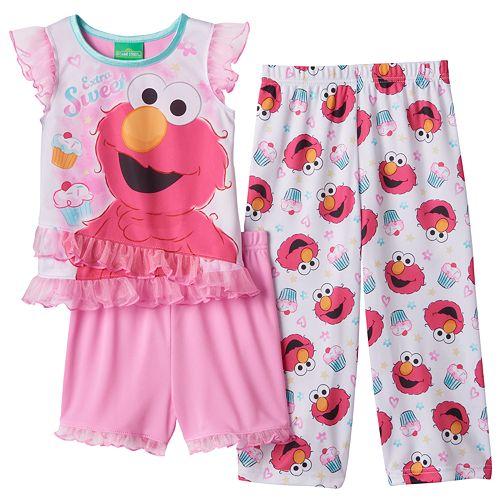 ce07496e1f Toddler Girl Sesame Street Elmo Pajama Set