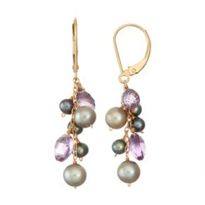 14k Gold Amethyst & Dyed Freshwater Cultured Pearl Cluster Drop Earrings