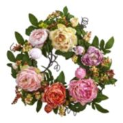 nearly natural Artificial Mixed Peony & Berry Wreath