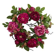 nearly natural Artificial Peony & Berry Wreath
