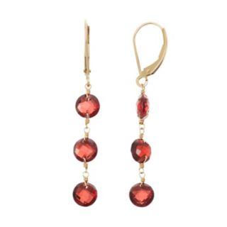 14k Gold Garnet Linear Drop Earrings