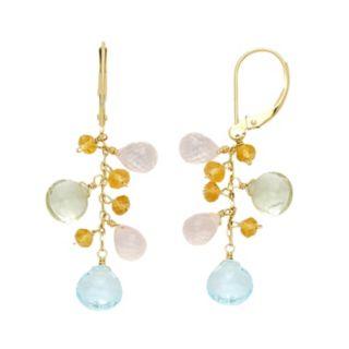 14k Gold Gemstone Briolette Drop Earrings