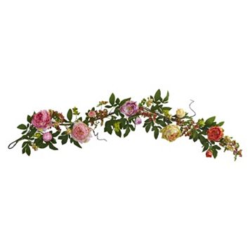 nearly natural Artificial Mixed Peony & Berry Garland