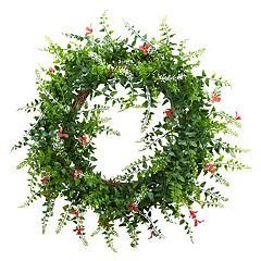Click here to buy nearly natural Artificial Floral & Fern Wreath.