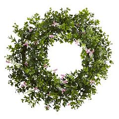 nearly natural Artificial Mini Ivy & Floral Wreath