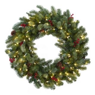 nearly natural Artificial Lighted Pine Wreath