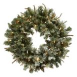 nearly natural Artificial Lighted Frosted Pine Wreath