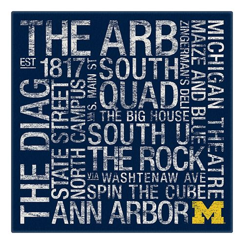 Michigan Wolverines Subway Canvas Wall Art