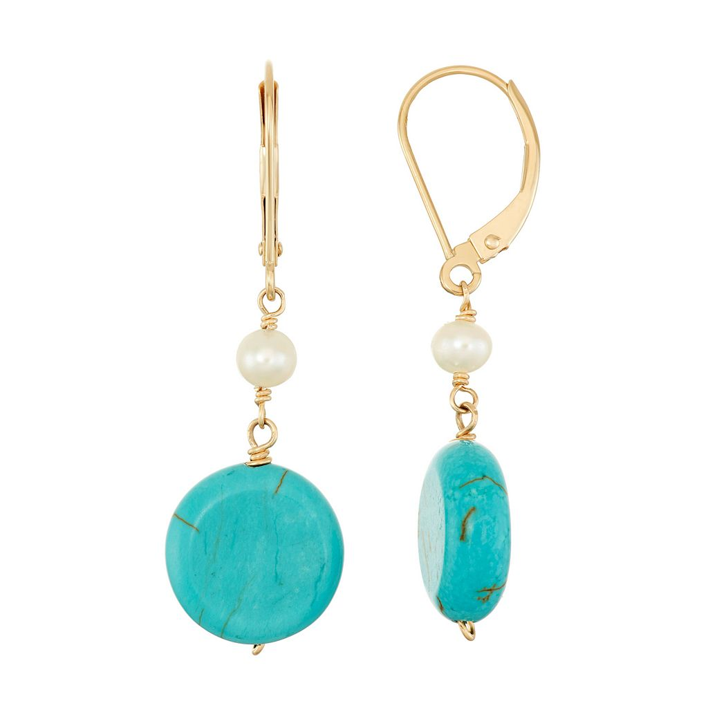 14k Gold Turquoise & Freshwater Cultured Pearl Drop Earrings
