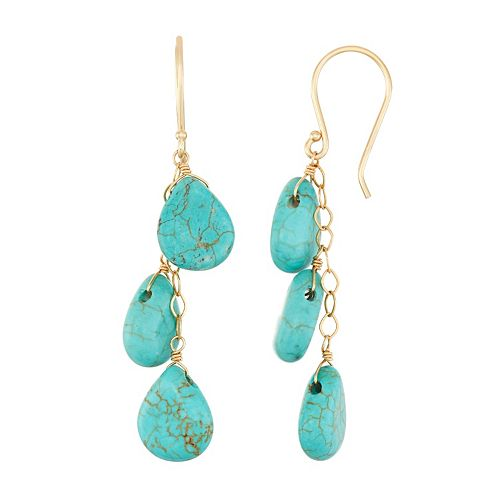 14k Gold Turquoise Drop Earrings