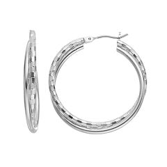 Textured Double Hoop Earrings