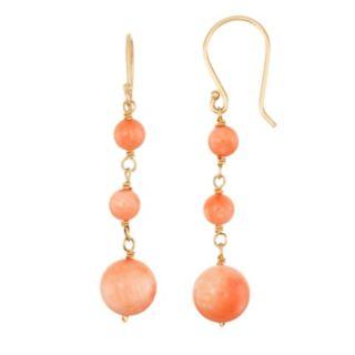14k Gold Coral Linear Drop Earrings