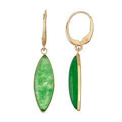 14k Gold Jade Marquise Drop Earrings
