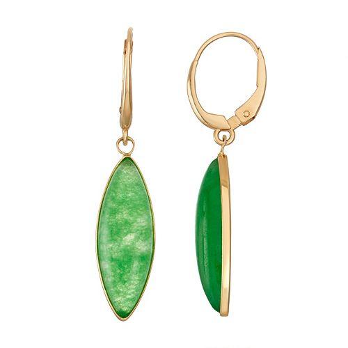 14k Gold Jade Marquise Drop Earrings