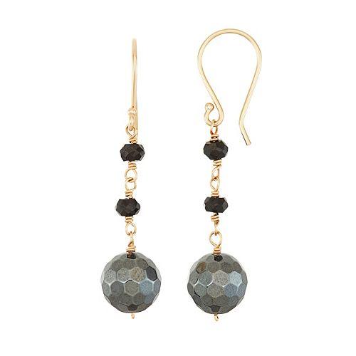 14k Gold Hematite & Black Spinel Drop Earrings