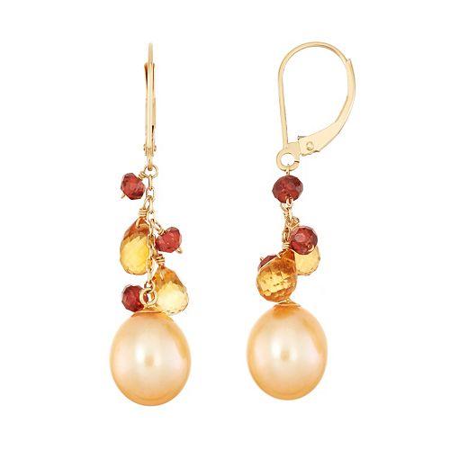 14k Gold Gemstone Briolette & Dyed Freshwater Cultured Pearl Drop Earrings