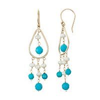 14k Gold Turquoise & Freshwater Cultured Pearl Chandelier Earrings