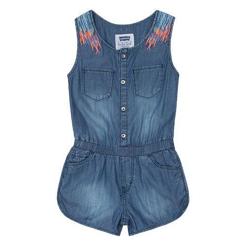 Girls 4-6x Levi's Embroidered Denim Romper