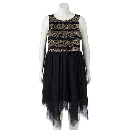 Juniors\' Plus Size Trixxi Mesh Handkerchief Dress