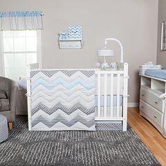 Trend Lab Blue Taffy 3 pc Chevron Crib Bedding Set