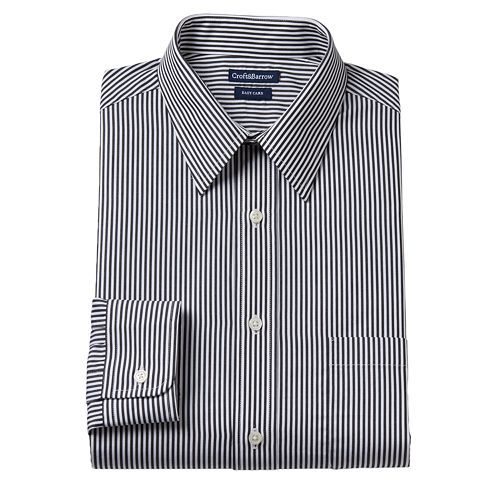 Men's Croft & Barrow® Slim-Fit Striped Easy-Care Point-Collar Dress Shirt