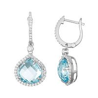 Sterling Silver Blue & White Topaz Halo Hoop Drop Earrings