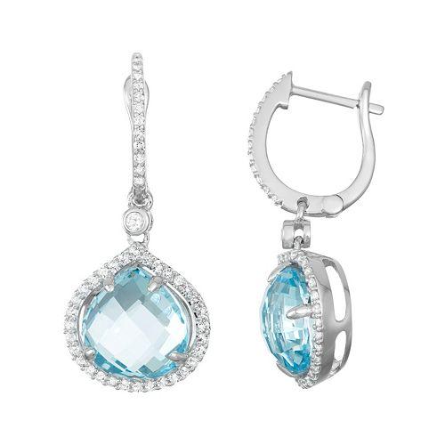 Sterling Silver Blue & White Topaz Halo Hoop Drop Earrings