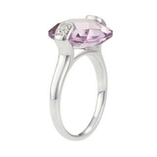 Sterling Silver Amethyst & White Topaz Ring