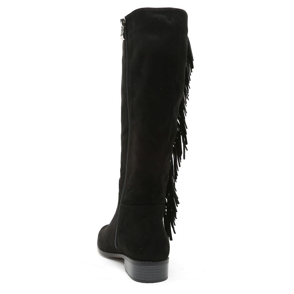 Qupid Moore Women's Fringe Knee-High Riding Boots