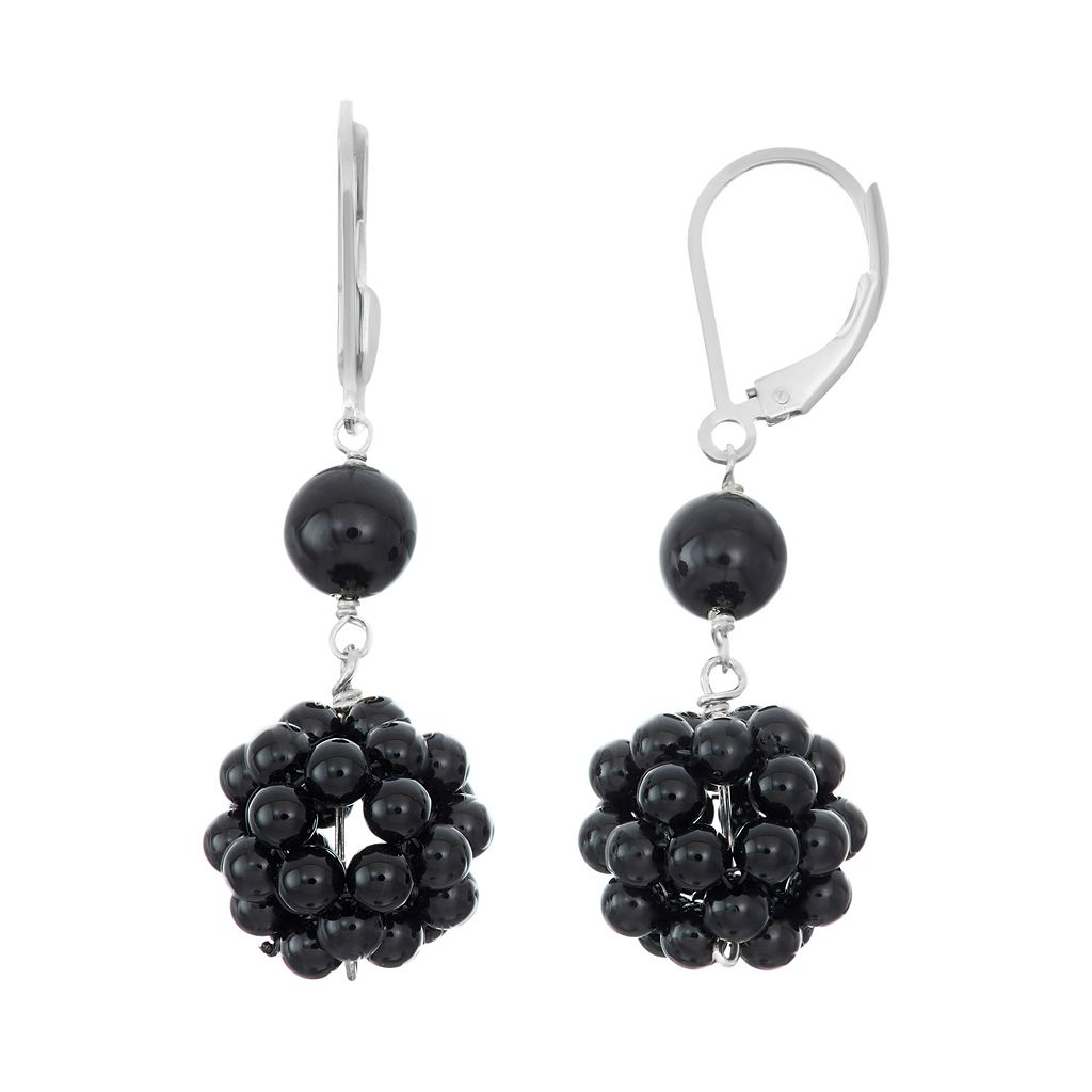 Sterling Silver Onyx Cluster Drop Earrings