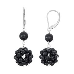 Sterling Silver Onyx Cluster Drop Earrings