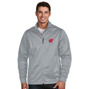 Men's Antigua Wisconsin Badgers Waterproof Golf Jacket