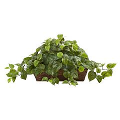 nearly natural Artificial Pothos Ledge Basket