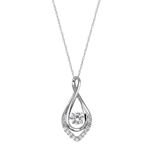 Sterling Silver Lab-Created White Sapphire Infinity Pendant Necklace