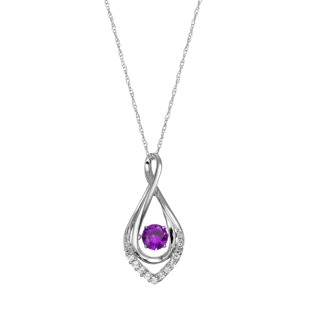 Sterling Silver Amethyst Infinity Pendant Necklace