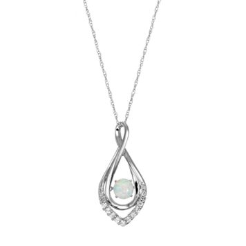Sterling Silver Lab-Created Opal Infinity Pendant Necklace