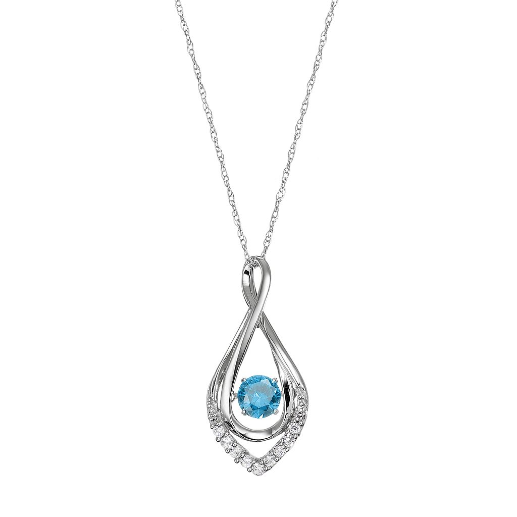 Sterling Silver Swiss Blue Topaz Infinity Pendant Necklace