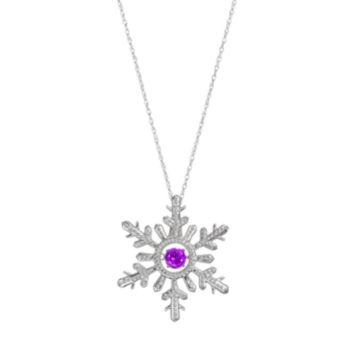 Sterling Silver Amethyst Snowflake Pendant Necklace