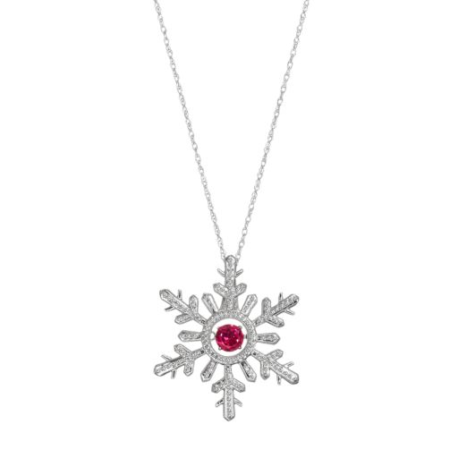 Sterling Silver Lab-Created Ruby Snowflake Pendant Necklace